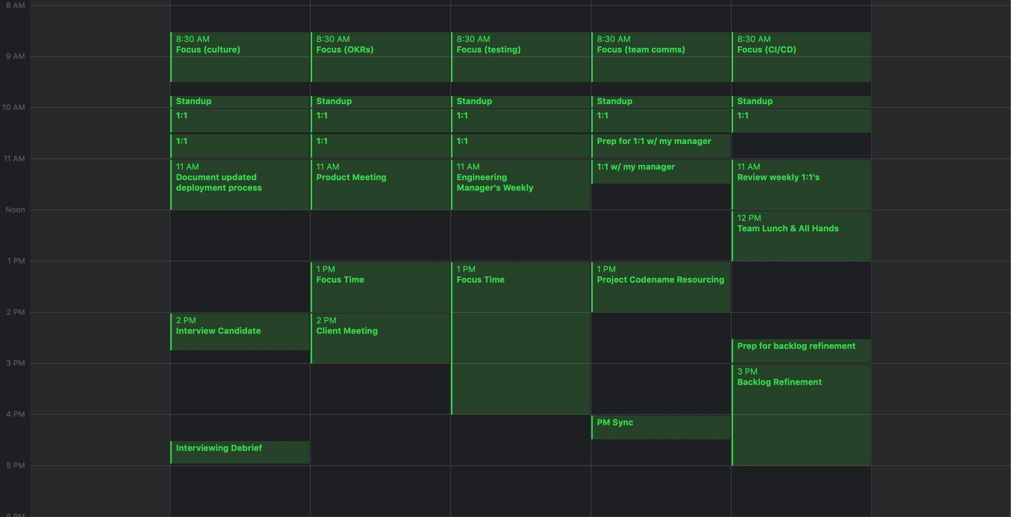 Manager's calendar with focus time